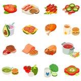 Ensemble d'icônes d'heure du déjeuner, style isométrique illustration libre de droits