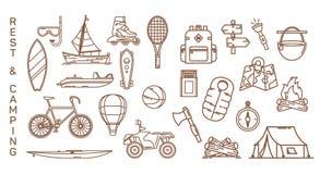 Ensemble d'icônes d'isolement d'été pour la récréation illustration de vecteur