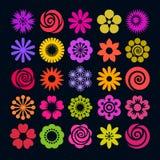 Ensemble d'icônes lumineuses de fleur de couleur dans le style plat Vecteur illustration stock