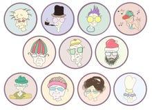 Ensemble d'icônes mignonnes des personnes âgées Personnes âgées drôles de ` d'icône illustration libre de droits