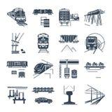 Ensemble d'icônes noires fret et de transport ferroviaire de service de train voyageurs, train illustration de vecteur