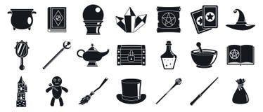 Ensemble d'ic?nes d'outils de magicien de magicien, style simple illustration libre de droits