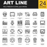 Ensemble d'icônes parfaites de multimédia d'ensemble de pixel Images libres de droits