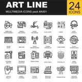 Ensemble d'icônes parfaites de multimédia d'ensemble de pixel Image stock