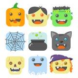 Ensemble d'icônes plates d'art de place simple de bande dessinée sur un thème de Halloween illustration stock
