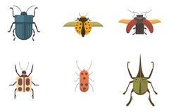 Ensemble d'icônes plates de conception de vecteur de style d'insectes Illustration de scarabée de nature de collection et de band illustration libre de droits