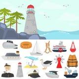 Ensemble d'icônes plates de couleur d'expédition Phare sur l'illustration de couleur de plage pour le Web et la conception mobile Images stock