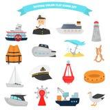 Ensemble d'icônes plates de couleur d'expédition pour le Web et la conception mobile Images libres de droits