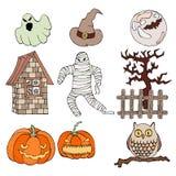 Ensemble d'icônes plates de Halloween de conception illustration libre de droits
