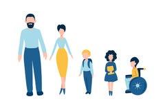 Ensemble d'icônes plates de personnes - l'homme masculin de père, femme féminine de mère, les écoliers d'enfants, l'une d'entre e illustration libre de droits