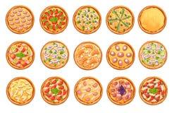 ensemble d'icônes plates de pizza d'isolement sur l'ensemble blanc de vue supérieure de pizza Page de site Web et élément mobile  illustration stock