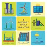 Ensemble d'icônes plates de style d'énergie renouvelable Photographie stock