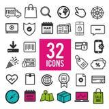 Ensemble d'icônes plates pour le Web et le design de l'interface - affaires de voyage de communication d'achats médicales Illustration Libre de Droits