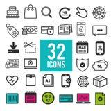 Ensemble d'icônes plates, pour le Web et le design de l'interface - transport d'affaires d'achats de voyage de communication Illustration Libre de Droits