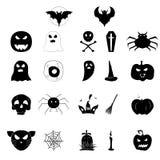 Ensemble d'icônes pour Halloween Silhouettes noires des caractères illustration stock