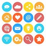 Ensemble d'icônes sociales de mise en réseau Style plat de conception Images libres de droits