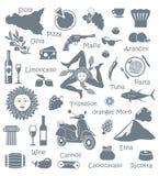 Ensemble d'icônes sur un thème de la Sicile illustration de vecteur