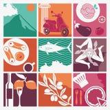 Ensemble d'icônes sur un thème de la Sicile illustration libre de droits
