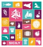 Ensemble d'icônes sur un thème de la Sicile illustration stock