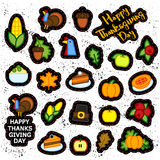 Ensemble d'icône abstraite de jour de thanksgiving d'autocollant Symboles de vacances Photos stock