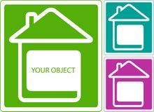 Icône avec l'endroit à la maison et blanc pour l'objet Photographie stock libre de droits