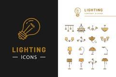 Ensemble d'icône d'éclairage, conception plate de symboles de lampes Ligne mince insignes illustration de vecteur
