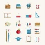 Ensemble d'icône d'éducation et de fournitures scolaires Image stock