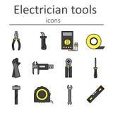 Ensemble d'icône d'électricien d'outils Photo stock