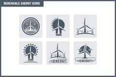 Ensemble d'icône d'énergie renouvelable de vecteur Photos stock