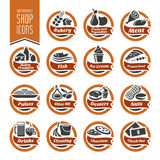 Ensemble d'icône d'étagère de supermarché Photographie stock libre de droits