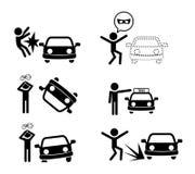 Ensemble d'icône d'accident de voiture dans le style de silhouette Photo libre de droits