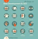 Ensemble d'icône d'affaires Développement de logiciel et de Web, SEO, vente Images stock