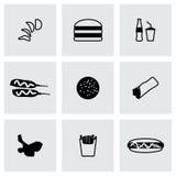 Ensemble d'icône d'aliments de préparation rapide de vecteur Photos stock