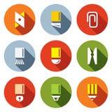 Ensemble d'icône d'articles de papeterie Image stock
