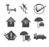 Ensemble d'icône d'assurance Photos libres de droits