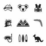 Ensemble d'icône d'Australie de vecteur illustration stock