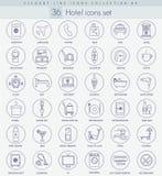 Ensemble d'icône d'ensemble d'hôtel de vecteur Ligne mince élégante conception de style illustration stock