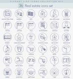Ensemble d'icône d'ensemble d'immobiliers de vecteur Ligne mince élégante conception de style Image libre de droits