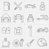Ensemble d'icône d'entretien de service de voiture Illustration de vecteur Photos libres de droits
