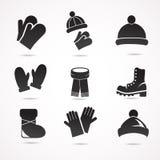 Ensemble d'icône d'habillement d'hiver Photo stock