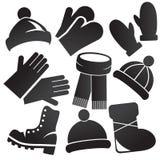 Ensemble d'icône d'habillement d'hiver Photos stock