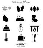Ensemble d'icône d'hiver Images libres de droits