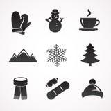 Ensemble d'icône d'hiver Photos libres de droits