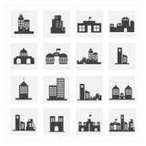 ensemble d'icône d'immeuble de bureaux Image libre de droits
