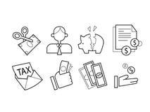Ensemble d'icône d'impôts Photos stock