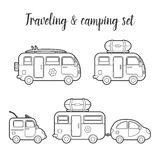 Ensemble d'icône d'isolement par caravane de transport de vecteur Images stock