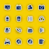 Ensemble d'icône d'ordinateur de multimédia d'isolement sur le jaune Photographie stock libre de droits