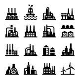 Ensemble d'icône d'usine de bâtiment industriel Images libres de droits