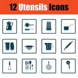 Ensemble d'icône d'ustensiles Image stock