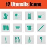 Ensemble d'icône d'ustensiles Photos stock
